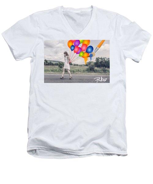 Girl Walking With Ballons #1 Men's V-Neck T-Shirt