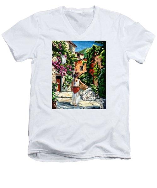 Girl With Basket On A Greek Island Men's V-Neck T-Shirt