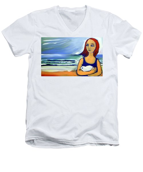 Men's V-Neck T-Shirt featuring the painting Girl With Bird by Winsome Gunning