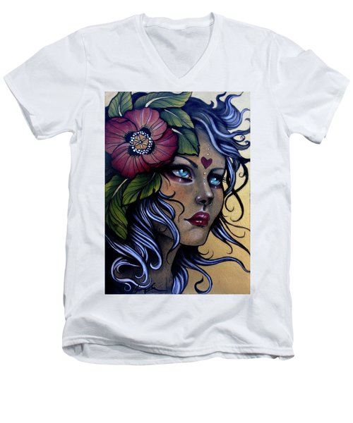 Girl With Poppy Flower Men's V-Neck T-Shirt