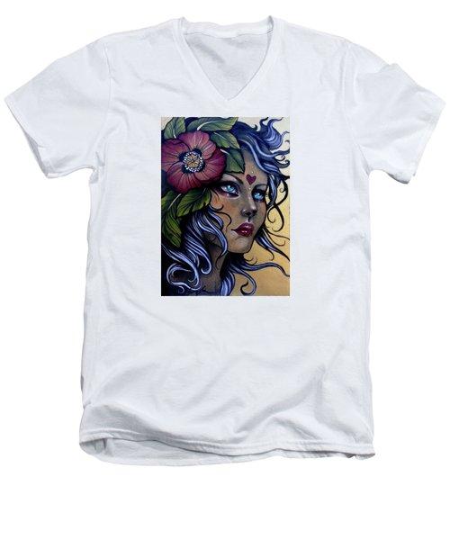 Girl With Poppy Flower Men's V-Neck T-Shirt