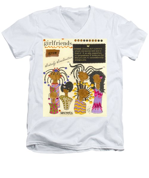Men's V-Neck T-Shirt featuring the mixed media Girlfriends  by Angela L Walker