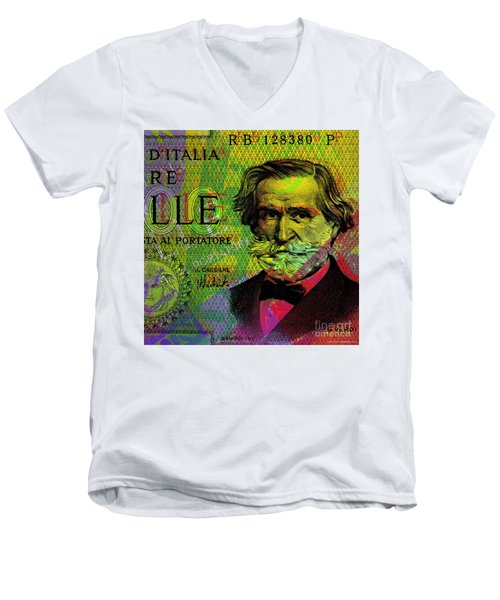 Giuseppe Verdi Portrait Banknote Men's V-Neck T-Shirt