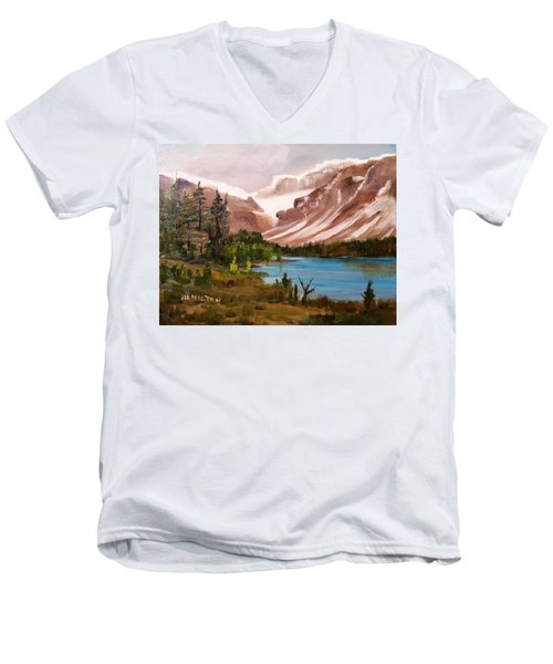 Glacier Lake Men's V-Neck T-Shirt by Larry Hamilton