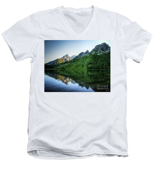 Glacier Lake Men's V-Neck T-Shirt by Rebecca Hiatt