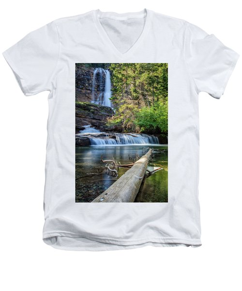 Glacier National Park Waterfall 3 Men's V-Neck T-Shirt by Andres Leon