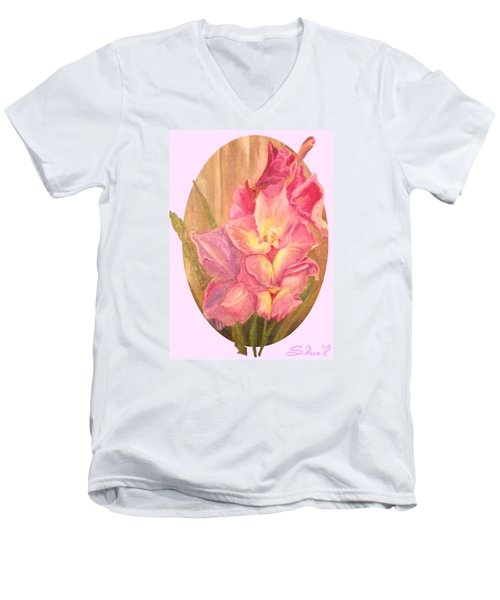 Men's V-Neck T-Shirt featuring the painting Gladiolas Oval by Sherril Porter