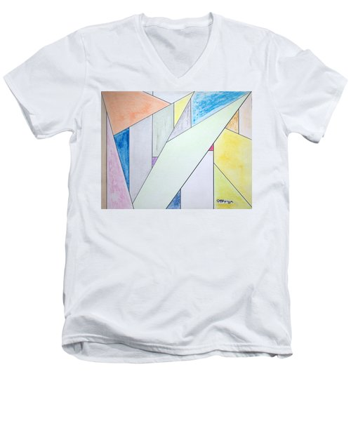 Men's V-Neck T-Shirt featuring the mixed media Glass-scrapers by J R Seymour