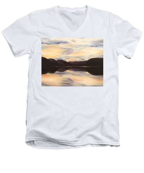 Men's V-Neck T-Shirt featuring the painting Glencoe by Elizabeth Lock