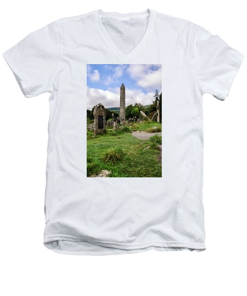 Glendalough Tower Ireland Men's V-Neck T-Shirt by Martina Fagan