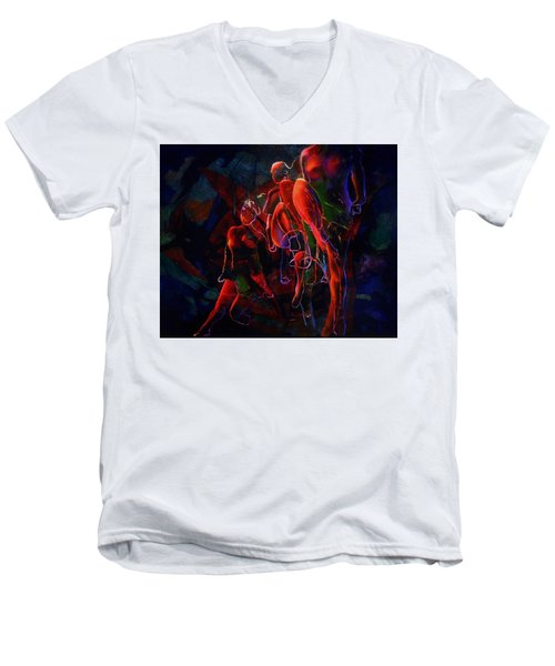 Men's V-Neck T-Shirt featuring the painting Glow by Georg Douglas