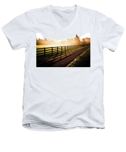 Men's V-Neck T-Shirt featuring the photograph Glowing Fog At Sunrise by Shelby Young