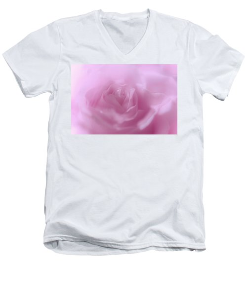 Men's V-Neck T-Shirt featuring the photograph Glowing Pink Rose by Jenny Rainbow
