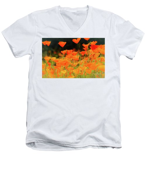 Glowing Poppies Men's V-Neck T-Shirt