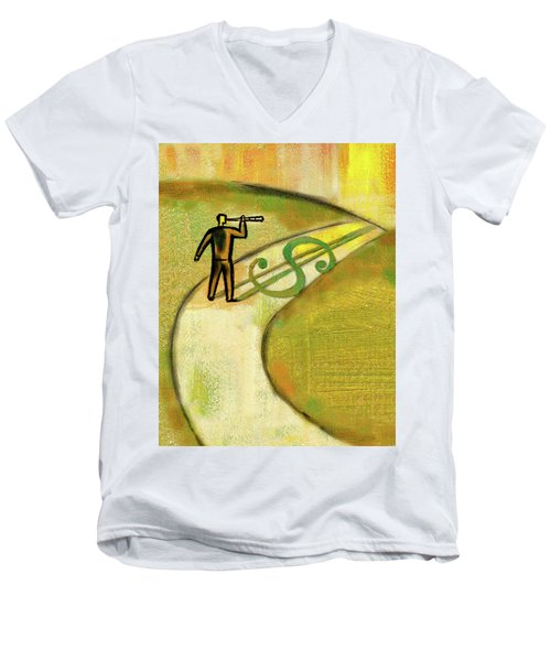 Men's V-Neck T-Shirt featuring the painting Goal by Leon Zernitsky