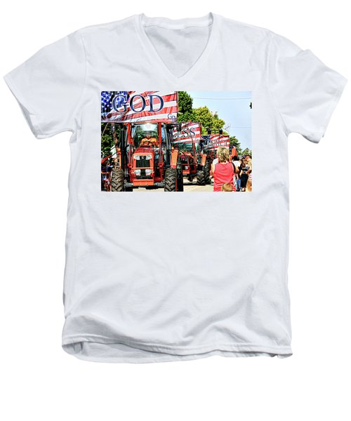 God Bless America And Farmers Men's V-Neck T-Shirt by Toni Hopper