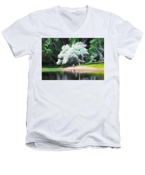 God Loves People Men's V-Neck T-Shirt