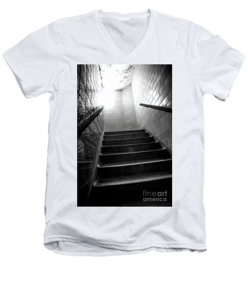 Going Up? Men's V-Neck T-Shirt by Randall Cogle