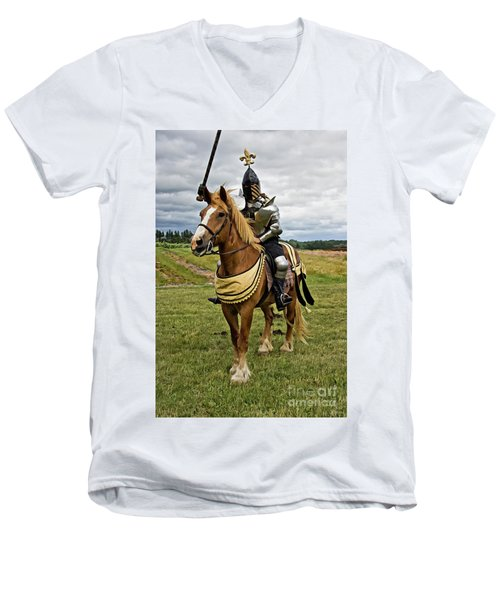 Gold And Silver Knight Men's V-Neck T-Shirt