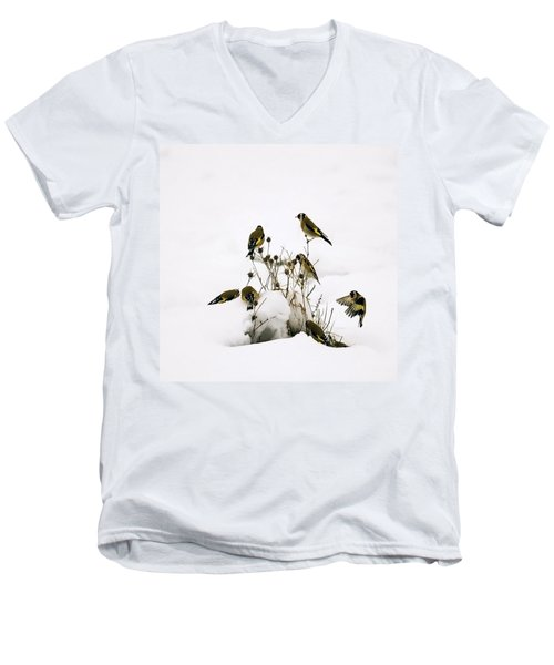 Gold Finches In Snow Men's V-Neck T-Shirt