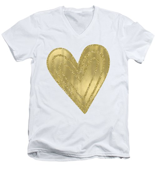 Gold Glam Heart Men's V-Neck T-Shirt