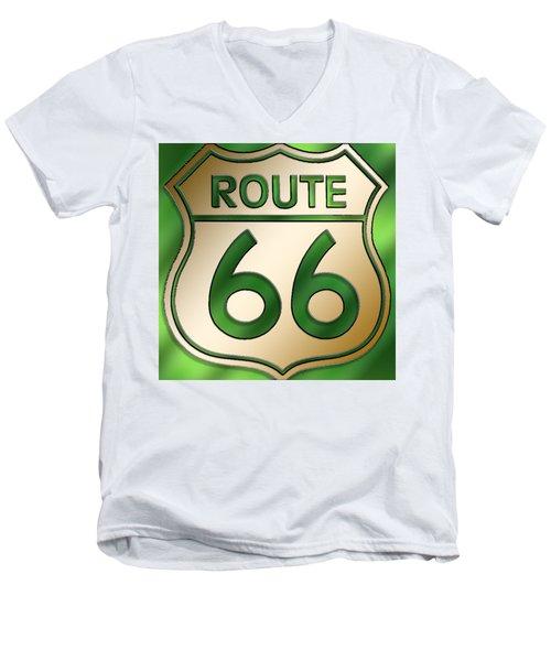 Gold Route 66 Sign Men's V-Neck T-Shirt