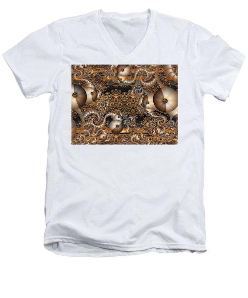 Men's V-Neck T-Shirt featuring the digital art Gold Rush by Robert Orinski