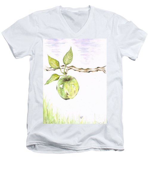 Golden Delishous Apple Men's V-Neck T-Shirt by Teresa White
