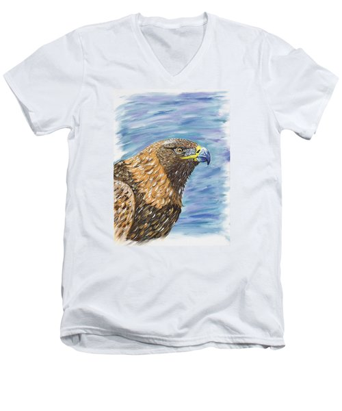 Golden Eagle Men's V-Neck T-Shirt by Scott Wilmot