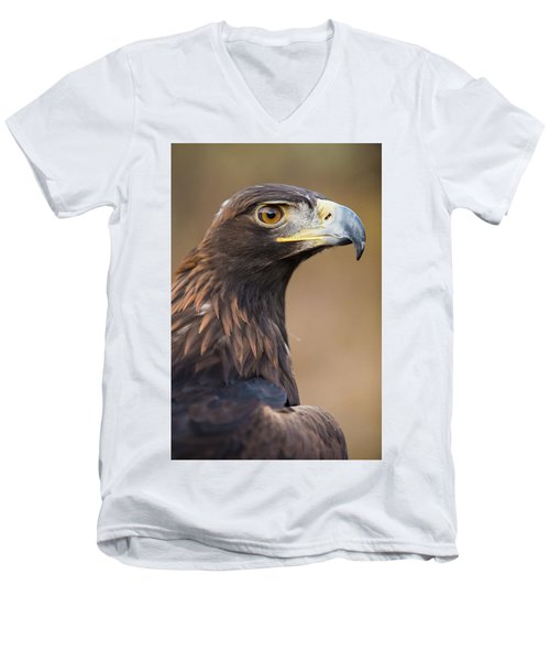 Men's V-Neck T-Shirt featuring the photograph Golden Eagle by Wesley Aston