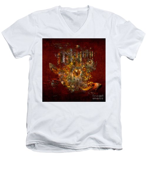 Men's V-Neck T-Shirt featuring the digital art Golden Fish In The Lake by Alexa Szlavics