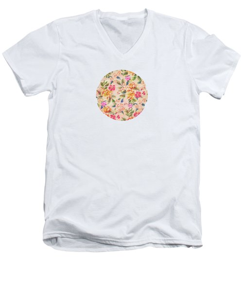 Golden Flitch Digital Vintage Retro  Glitched Pastel Flowers  Floral Design Pattern Men's V-Neck T-Shirt