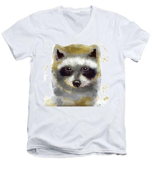 Golden Forest Raccoon  Men's V-Neck T-Shirt