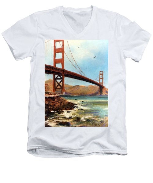 Golden Gate Bridge Looking North Men's V-Neck T-Shirt by Donald Maier