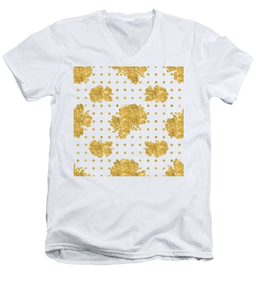 Men's V-Neck T-Shirt featuring the painting Golden Gold Blush Pink Floral Rose Cluster W Dot Bedding Home Decor by Audrey Jeanne Roberts