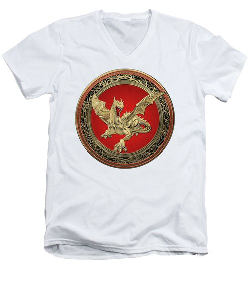 Golden Guardian Dragon Over White Leather Men's V-Neck T-Shirt by Serge Averbukh