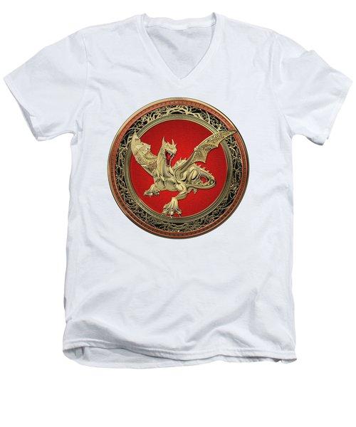 Golden Guardian Dragon Over White Leather Men's V-Neck T-Shirt