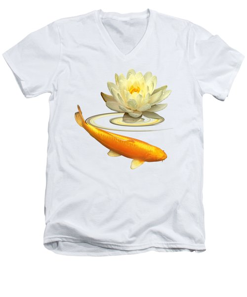Golden Harmony - Koi Carp With Water Lily Men's V-Neck T-Shirt by Gill Billington
