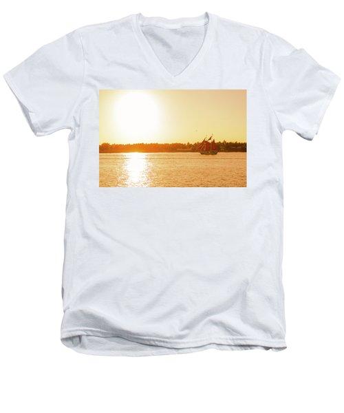 Golden Hour Sailing Ship Men's V-Neck T-Shirt