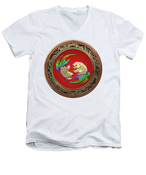 Golden Japanese Koi Goldfish Over White Leather Men's V-Neck T-Shirt