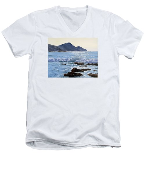 Men's V-Neck T-Shirt featuring the painting Golden Light At Crackington Haven by Lawrence Dyer
