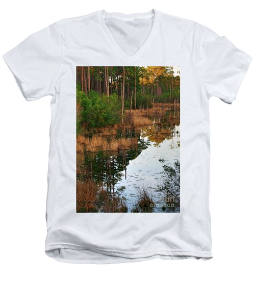 Men's V-Neck T-Shirt featuring the photograph Golden Pond by Lori Mellen-Pagliaro