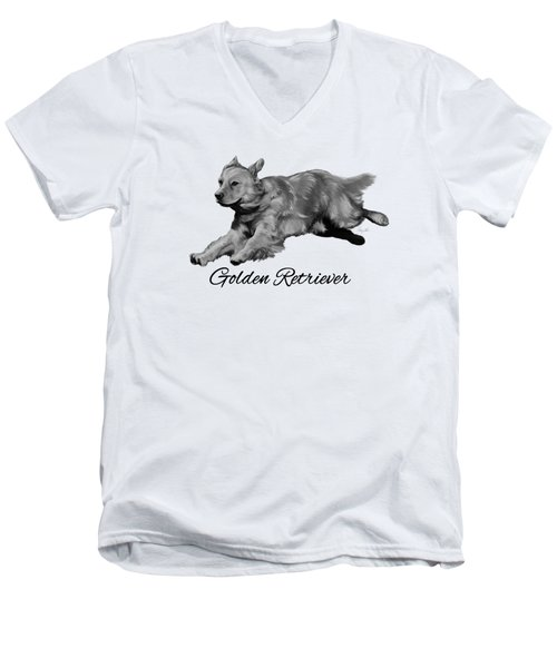 Golden Retriever Men's V-Neck T-Shirt by Ann Lauwers