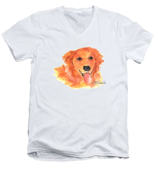 Golden Retriever Men's V-Neck T-Shirt by Kathleen McElwaine