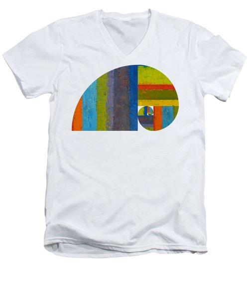 Men's V-Neck T-Shirt featuring the digital art Golden Spiral Study by Michelle Calkins
