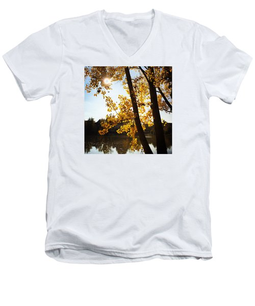 Golden Trees In Autumn Sindelfingen Germany Men's V-Neck T-Shirt
