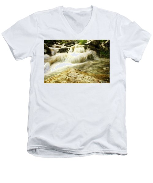 Golden Waterfall Men's V-Neck T-Shirt