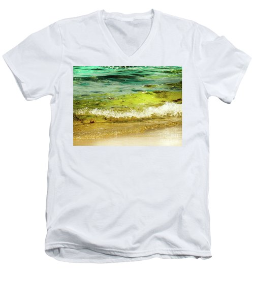 Golden Waves At Pacific Grove California Near Lover's Point Men's V-Neck T-Shirt