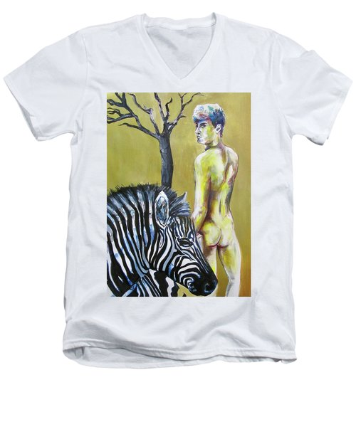 Men's V-Neck T-Shirt featuring the painting Golden Zebra High Noon by Rene Capone
