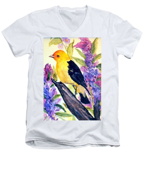Men's V-Neck T-Shirt featuring the painting Goldfinch by Gail Kirtz